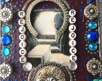 Rejoice/Unique wall hanging, Spiritual decor, religious crafts, Montana artist, Contemporary, upcycled items, great gift, Faith, bling, tin