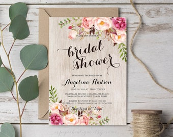 Bridal Shower Invite Rustic Bridal Shower Invitation Printable Boho Bridal Shower Invite Floral Bridal Shower Bohemian Bridal Shower ASPR005