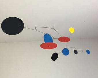Hand-Painted Alexander Calder Inspired Mid-Century Modern Abstract Kinetic Mobile Sculpture #5