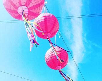 Set of ribbon paper lanterns