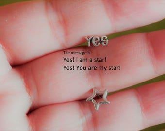 yes no stud earrings silver star earrings moon and star earrings sterling silver graduation gift silver stud earrings star earrings stud