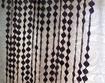 Wooden Beaded Curtain Door Or Room Divider Wood Beads New Handmade Brown  #d251