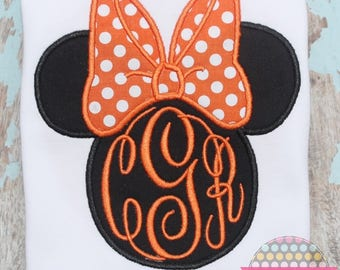 Girls Minnie Mouse silhouette appliqued shirt - Disney - Vacation - Halloween