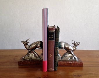 pair of antelope bookends - chrome and marble - 1930