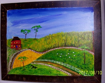20 by 16 inch acrylic folk art painting