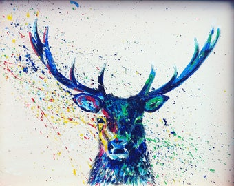 Stu the stag,         Stag Print, Stag art, Wildlife Art,  Wildlife Painting, Stag Painting