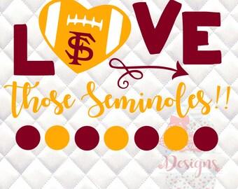 FSU - Florida State Love - Tailgating, Gameday - SVG, Silhouette studio bundle - design download