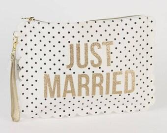 Just Married & Bride Gold Wristlet bag