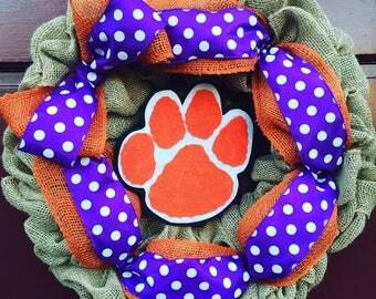 Clemson Tigers Burlap Wreath ACC Clemson Tigers Burlap Door Hanger