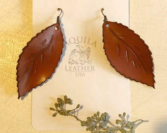 Leather Leaf Earrings - Large - Leaves Earrings - Handmade Leather Leaves Earrings