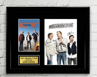 The Grand Tour - Jeremy Clarkson, Richard Hammond, James May - Cast Autograph Signed Poster Art Print Artwork - BBC Top Gear Hosts