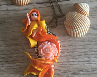 Fimo polymer clay Mermaid mermaid with pink, orange and yellow