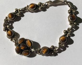 925 sterling silver tigers eye bracelet tiger's eye vintage cabochon brown stripey hardstone