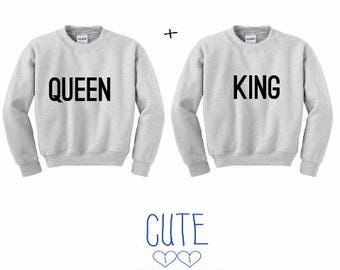 Queen and King Couple Sweater Heather Grau - sweater,hoodie,pullover,t-shirt,tee,top,couple,Pärchen,best friends,gift,