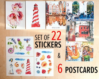 Postcrossing set of cards Watercolor postcards and Fruit stickers Original postcards lot Food sticker set Matte stickers Decorative stickers