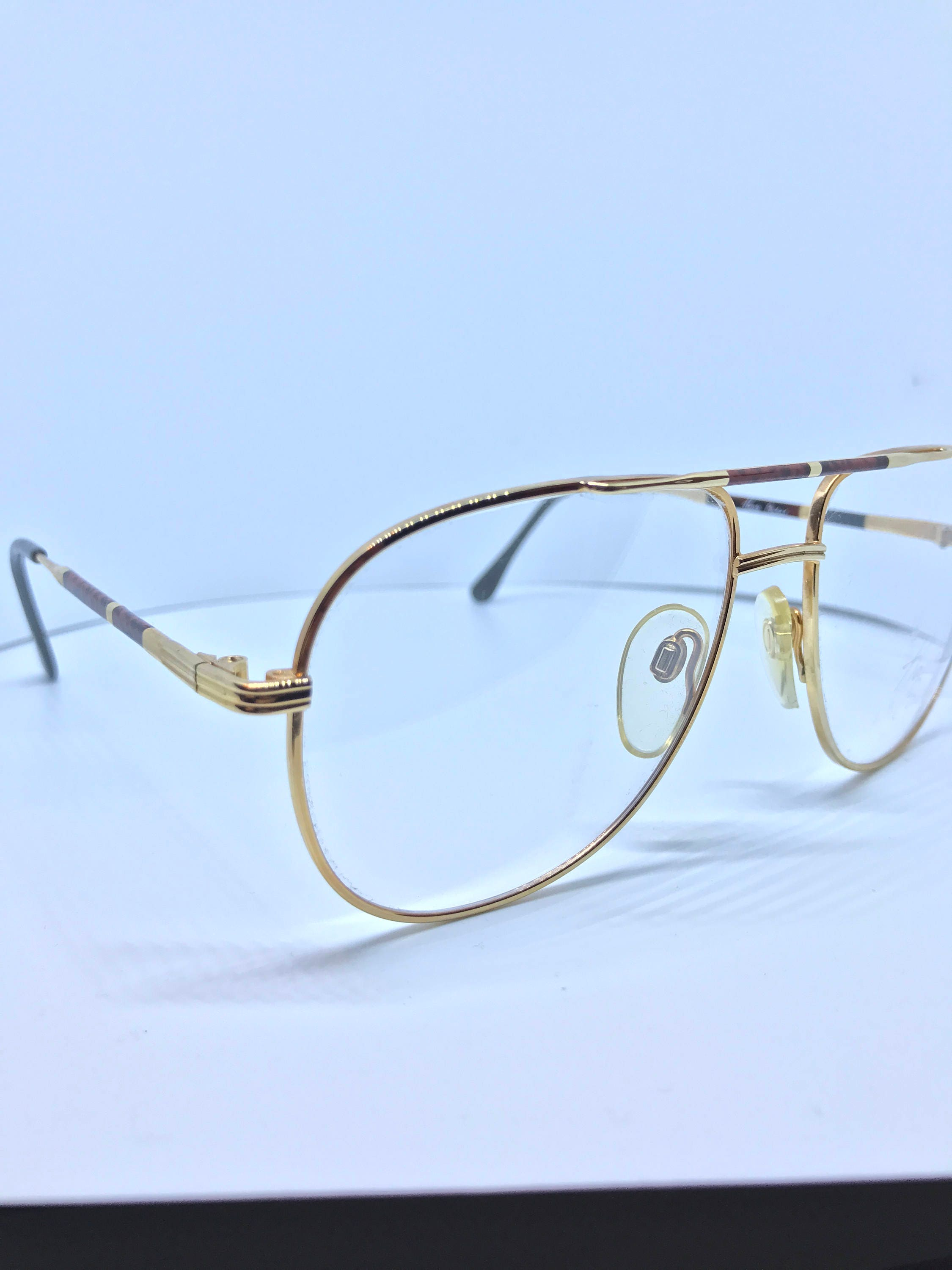Vintage Gold Aviator Glasses Frame - Haute Couture - 80\'s Double Bar ...