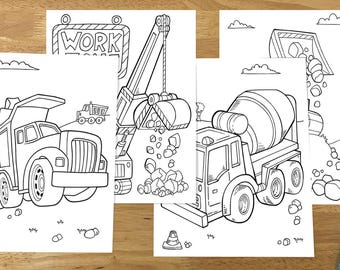 Cute Construction Vehicles Coloring Page Set Downloadable PDF Files