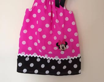girls dress, pillow case dress, minnie mouse, disney dress, birthday outfit, disney clothing, girls clothing, girls pink dress, 1-7years