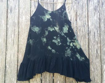 Rock Pools / Reverse Tie-Dye / Muted Green / tShirt / Singlet / Upcycled