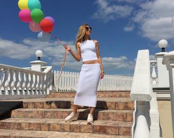 women crop top white skirt dress two piece set sleeveless knit top midi cotton skirt dress clothing set casual summer wear party long dress
