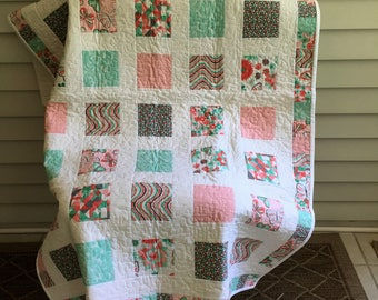 Baby/Toddler/Crib quilt/playmat - green/peach/aqua/white