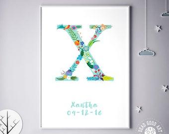 Flower Monogram, Girl Bedroom, Boy, Boy Bedroom, Newborn Baby, Xandra, Xantha, Birthday