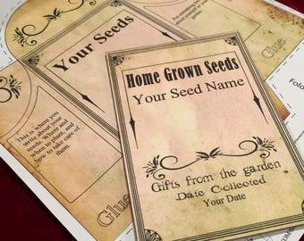 "Large 4.75""x5.5"" diy Seed packet envelope, diy home printable, editable PDF, digital download, home Garden"
