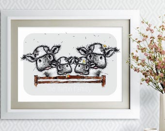 Personalised Cow Family Print - Moo Family