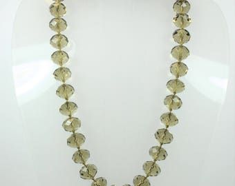 A Stunning Faceted Smokey Quartz Beaded Necklace With Tigers Eye Clasp