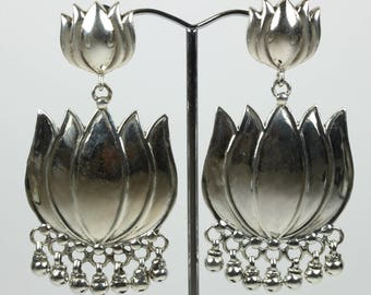Boho Style Sterling Silver Lotus Flower Stud Drop Earrings