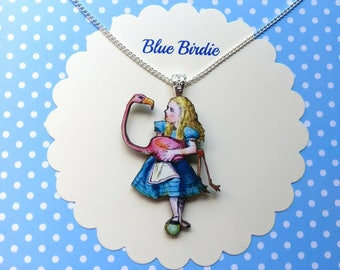Alice with flamingo necklace Alice in wonderland jewelry Alice and mallet jewelry Alice necklace jewellery Alice in wonderland necklace gift