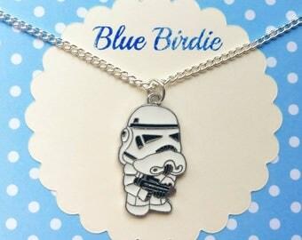 Cute storm trooper necklace storm trooper jewelry storm trooper jewellery storm trooper gift enamel storm trooper necklace star wars gifts