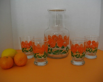 Vintage Orange Juice Decanter with Glasses