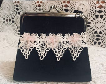 Velvet Girls Purse with Vintage Lace