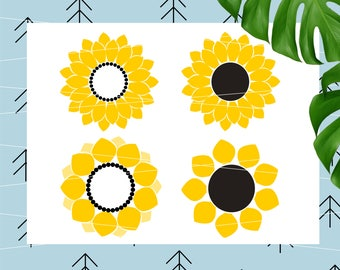 Sunflower svg Sunflower Monogram svg files flower monogram svg cricut cut files silhouette cutting files lfvs