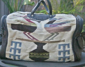 Vintage Leather Bag from Ecuador, Leather Tote, Leather Purse, Ecuador Bag, Collapsable Leather Bag, Vintage Leather Purse, Duffle Bag