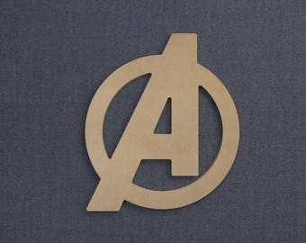 Avengers Symbol, Wood Cutout, Unfinished Sign