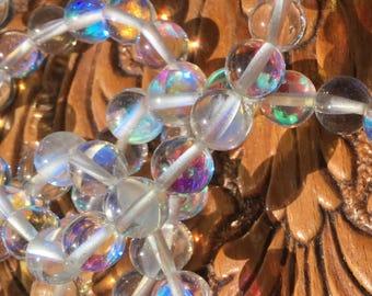 Rainbow aura quartz healing bracelet (8mm beads)