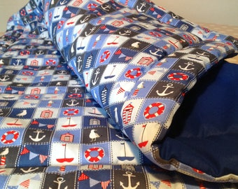 Nautical, seaside themed large, play mat / quilt.