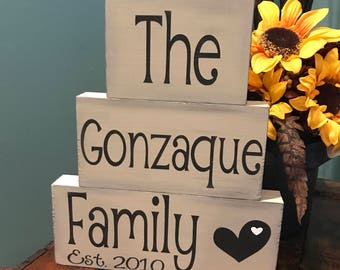 Personalized Established Wood Block Sign