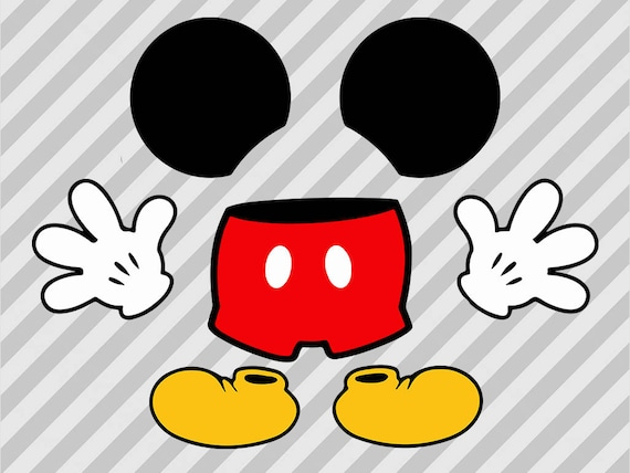 mickey mouse body svg mickey pants gloves and mickey ears Mickey Mouse Ears Outline Mickey Mouse Hands Clip Art