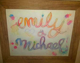 Customizable Watercolour Name Art