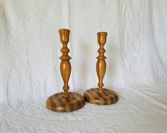Pair of Vintage Wooden Candlestick Holders / Wood Candlestick Holders