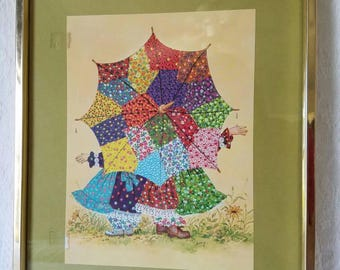 Vintage Print / Two Girls Under Umbrella Print / Vintage Wall Hanging