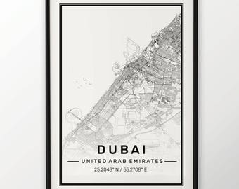 Dubai City Map Print Modern Contemporary poster in sizes 50x70 fit for Ikea frame 19.5 x 27.5 All city available London, New York Paris
