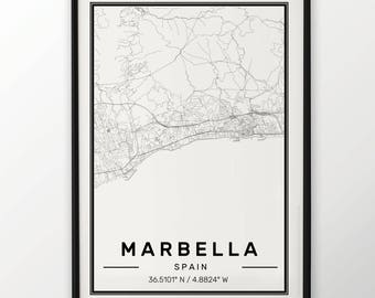 Marbella City Map Print Modern Contemporary poster in sizes 50x70 fit for Ikea frame 19.5 x 27.5 All city available London, New York Paris