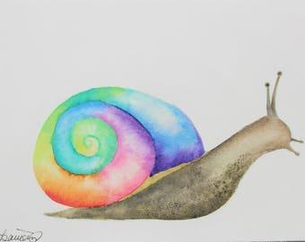 Original Rainbow Snail Watercolor Painting