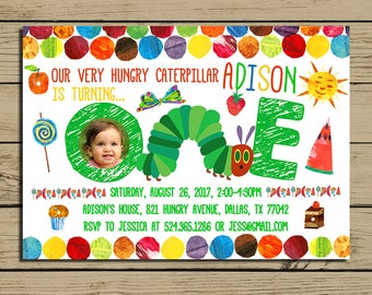 Very Hungry Caterpillar Invitation - The Very Hungry Caterpillar Birthday Party Invite - With Photo - With Free Backside - YOU PRINT