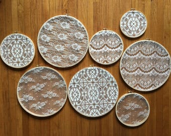 Boho lace hoops, wall collage decor