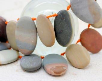 Picasso Jasper Gemstone Natural Flat Oval Beads
